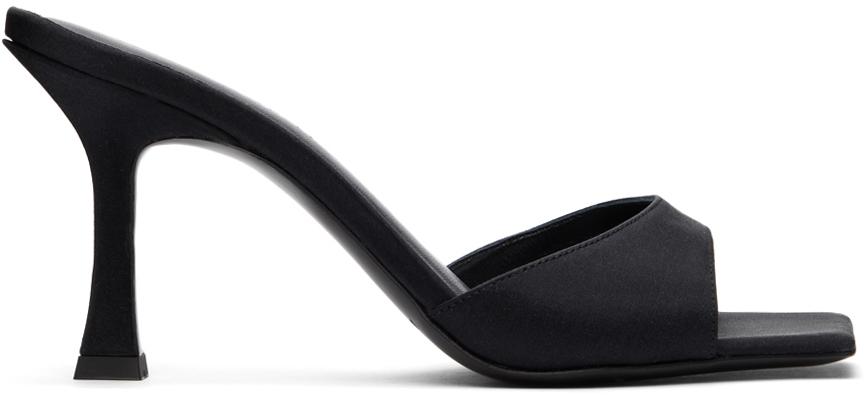 Black Satin Estonia Heeled Sandals