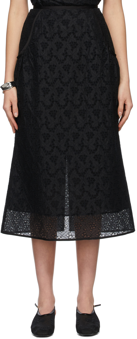 Black Lace Embroidery Skirt