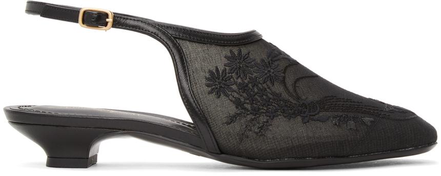 Mame Kurogouchi Black Floral Embroidered Slingback Slippers
