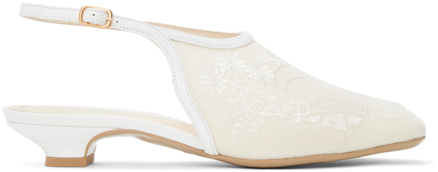 White Floral Embroidered Slingback Slippers