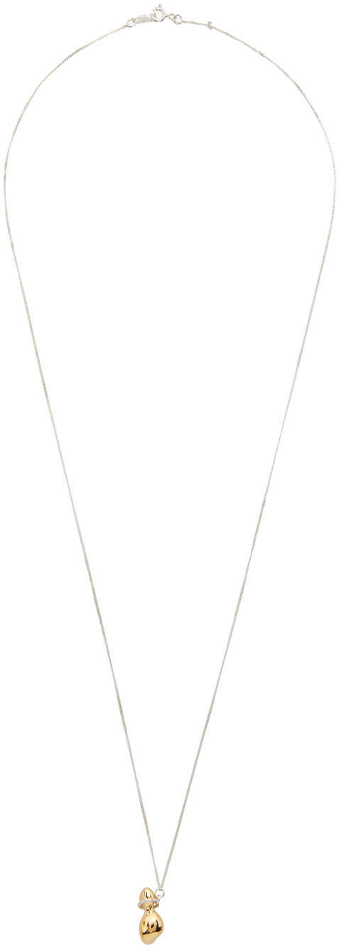 1064 Studio Silver Gold Shape Of Water 15N Necklace 211537F023012