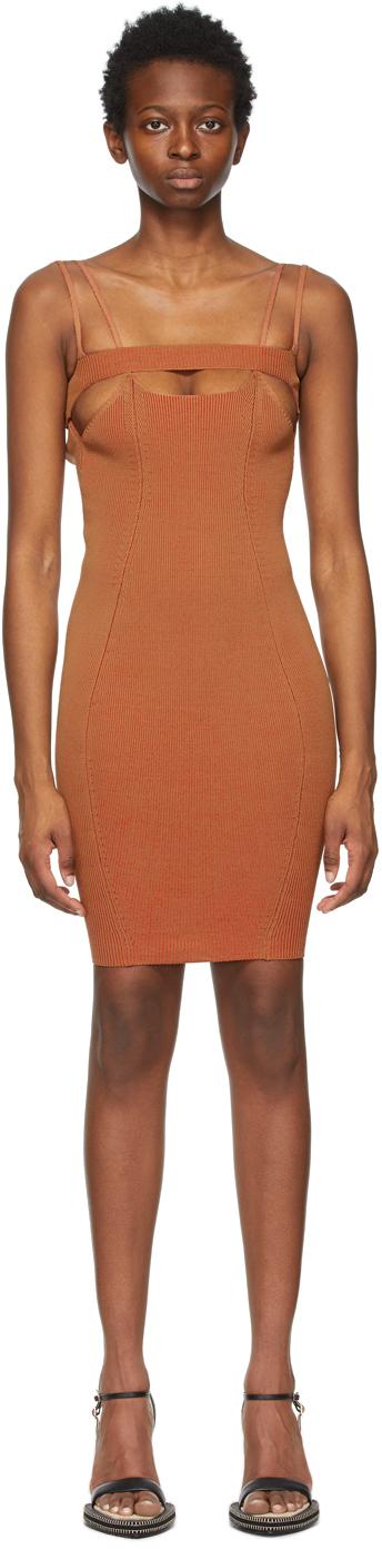SSENSE Exclusive Tan & Red Bottle Short Dress