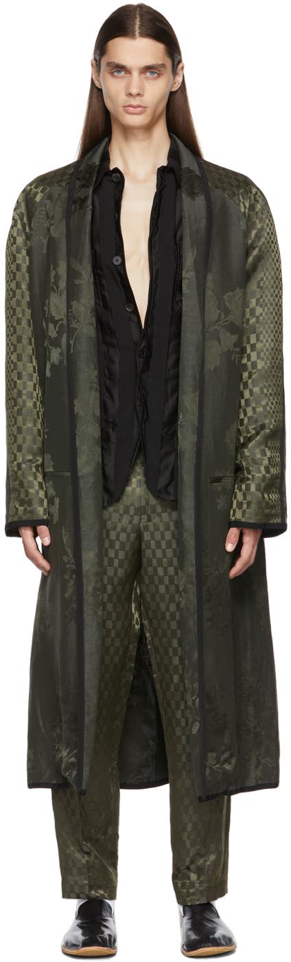 Khaki Linen Peignoir Coat