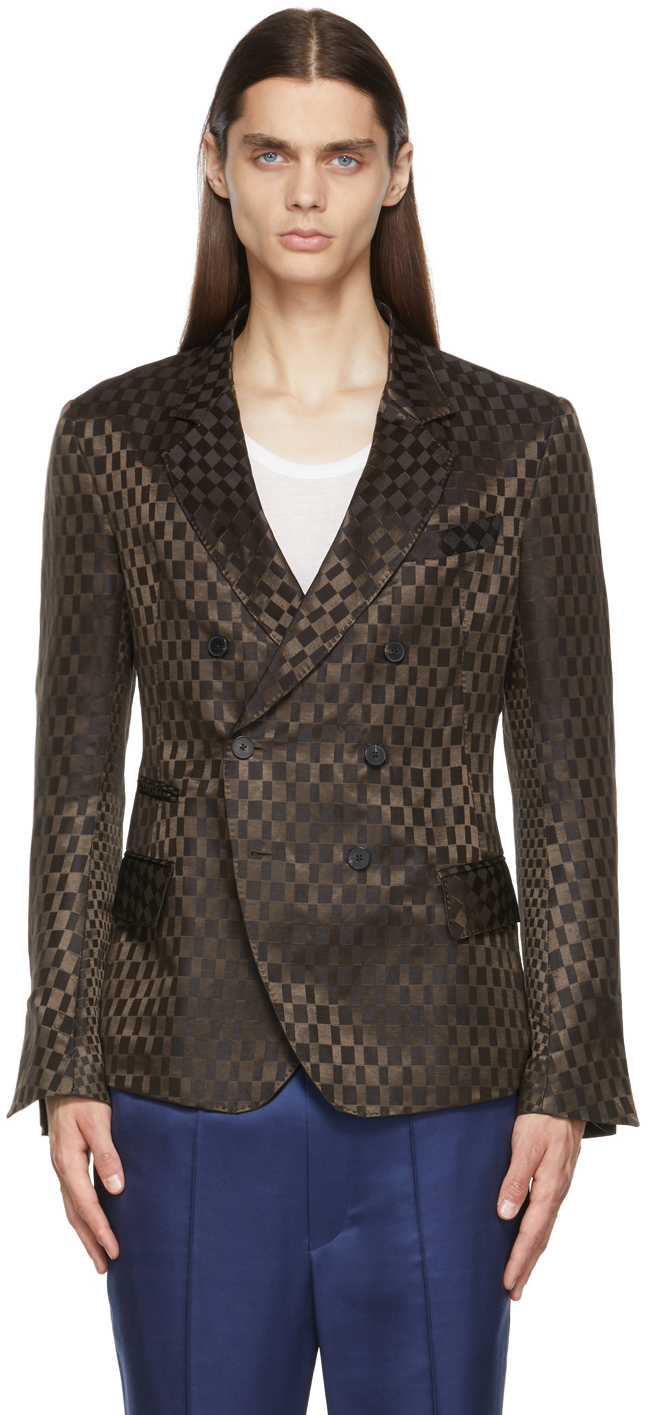 Brown Linen Double Breasted Blazer