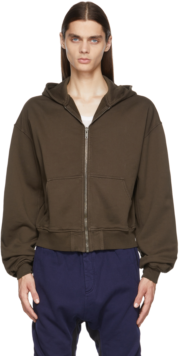 Brown Embroidered Zipped Hoodie