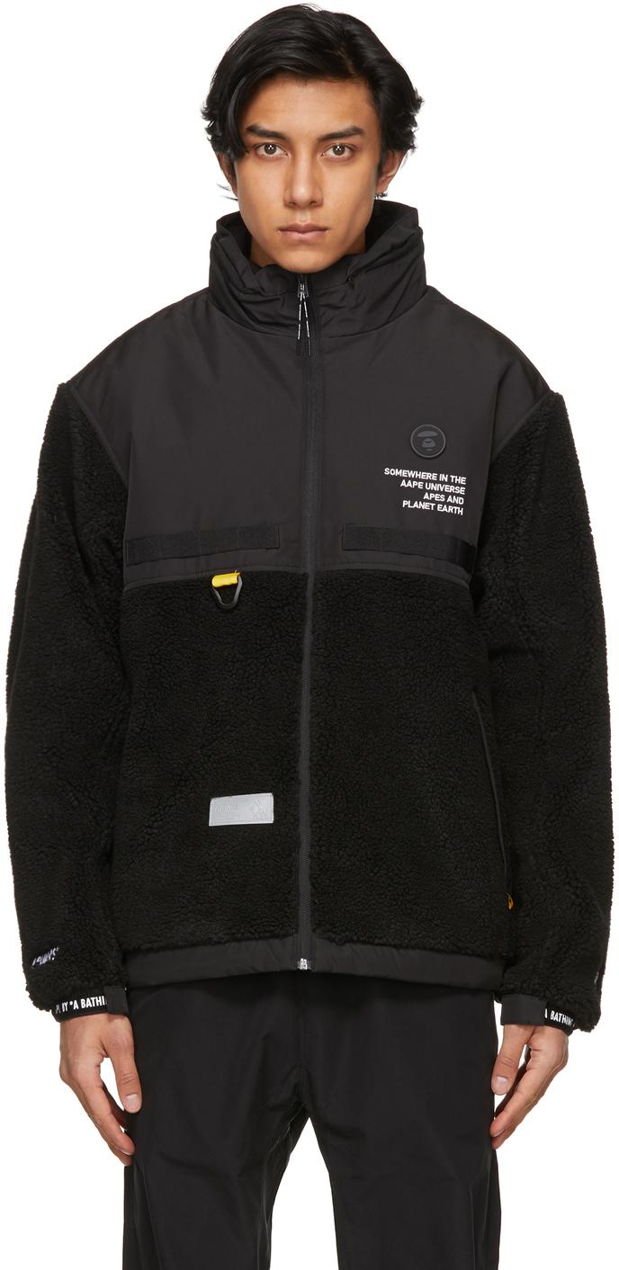 AAPE by A Bathing Ape Black Fleece Jacket 211547M180002
