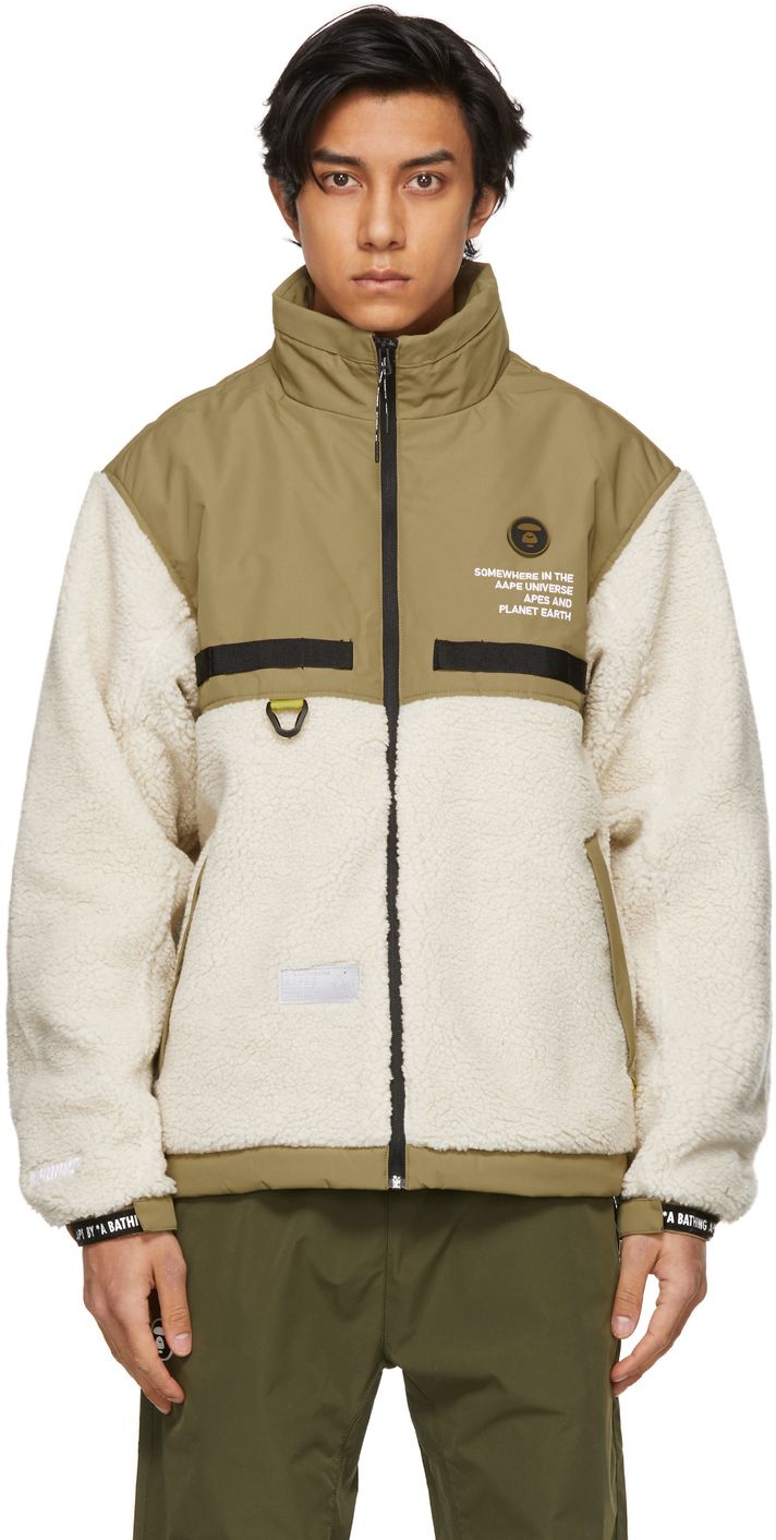 AAPE by A Bathing Ape Khaki Beige Fleece Jacket 211547M180003