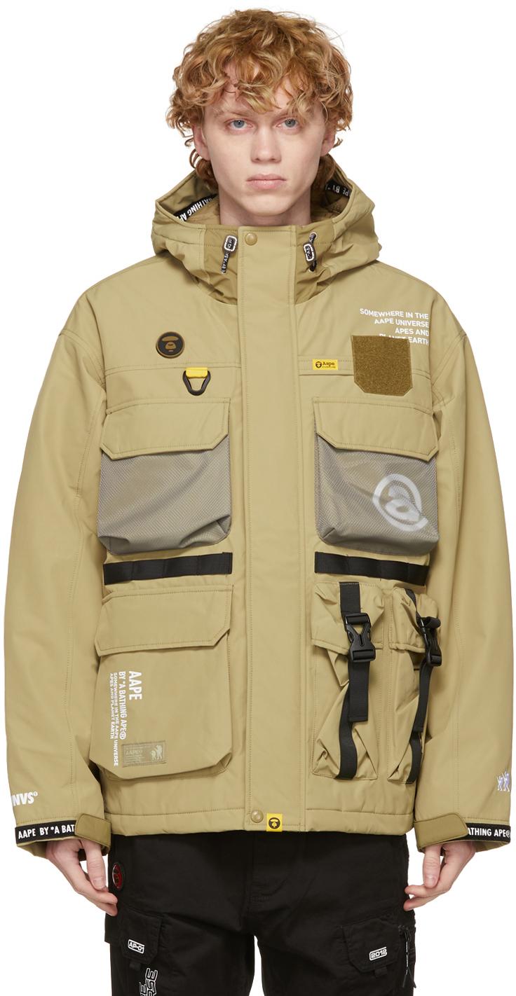 AAPE by A Bathing Ape Beige Multi Pockets Jacket 211547M180004