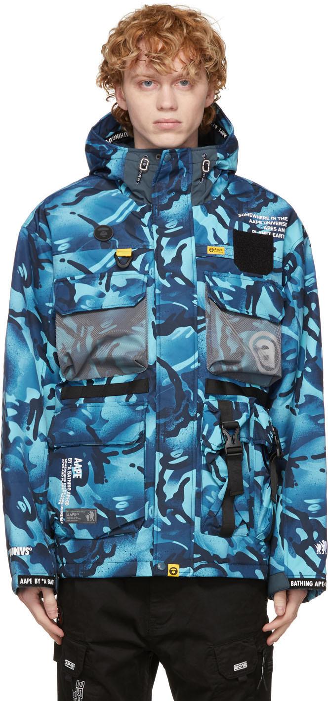 AAPE by A Bathing Ape Blue Camo Multi Pockets Jacket 211547M185000
