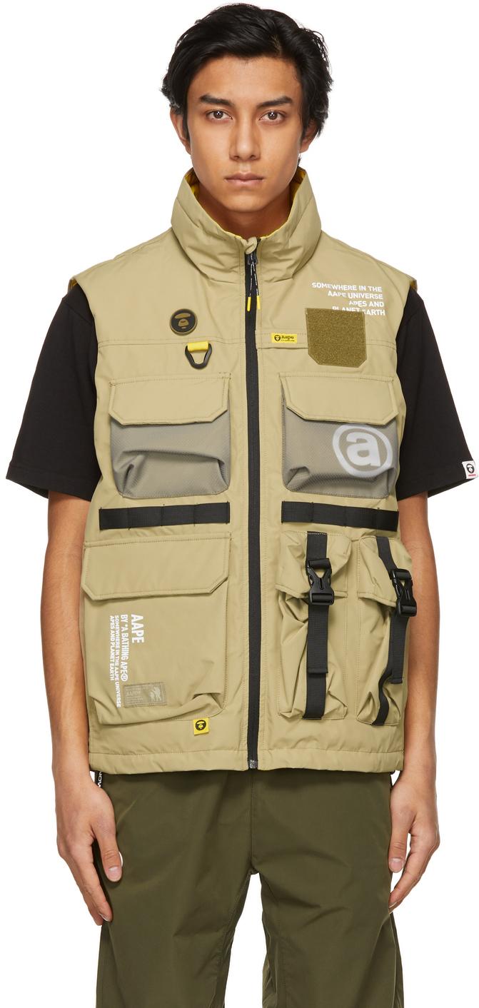 AAPE by A Bathing Ape Reversible Beige Yellow Canvas Multi Pocket Vest 211547M185001