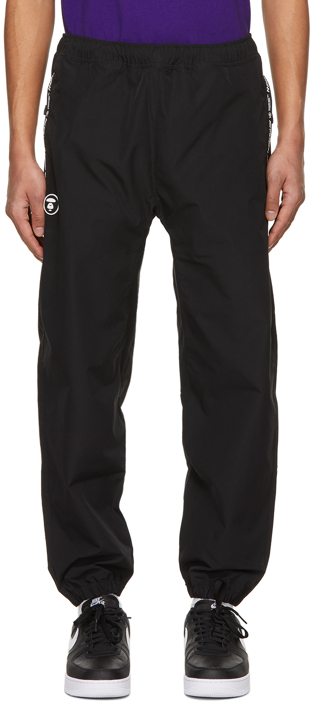 AAPE by A Bathing Ape Black Canvas One Point Lounge Pants 211547M190039