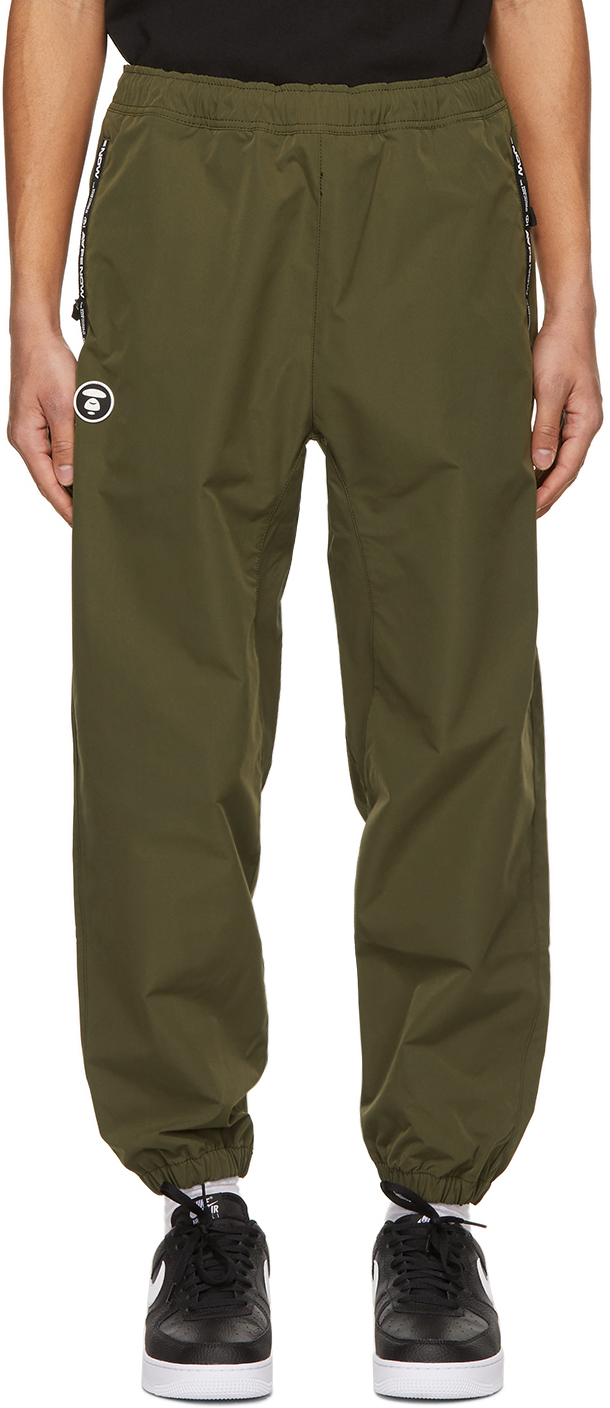 AAPE by A Bathing Ape Khaki Canvas One Point Lounge Pants 211547M190040