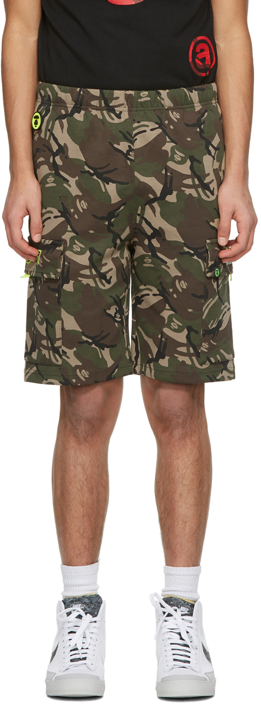 AAPE by A Bathing Ape Green Brown Camo Shorts 211547M193037