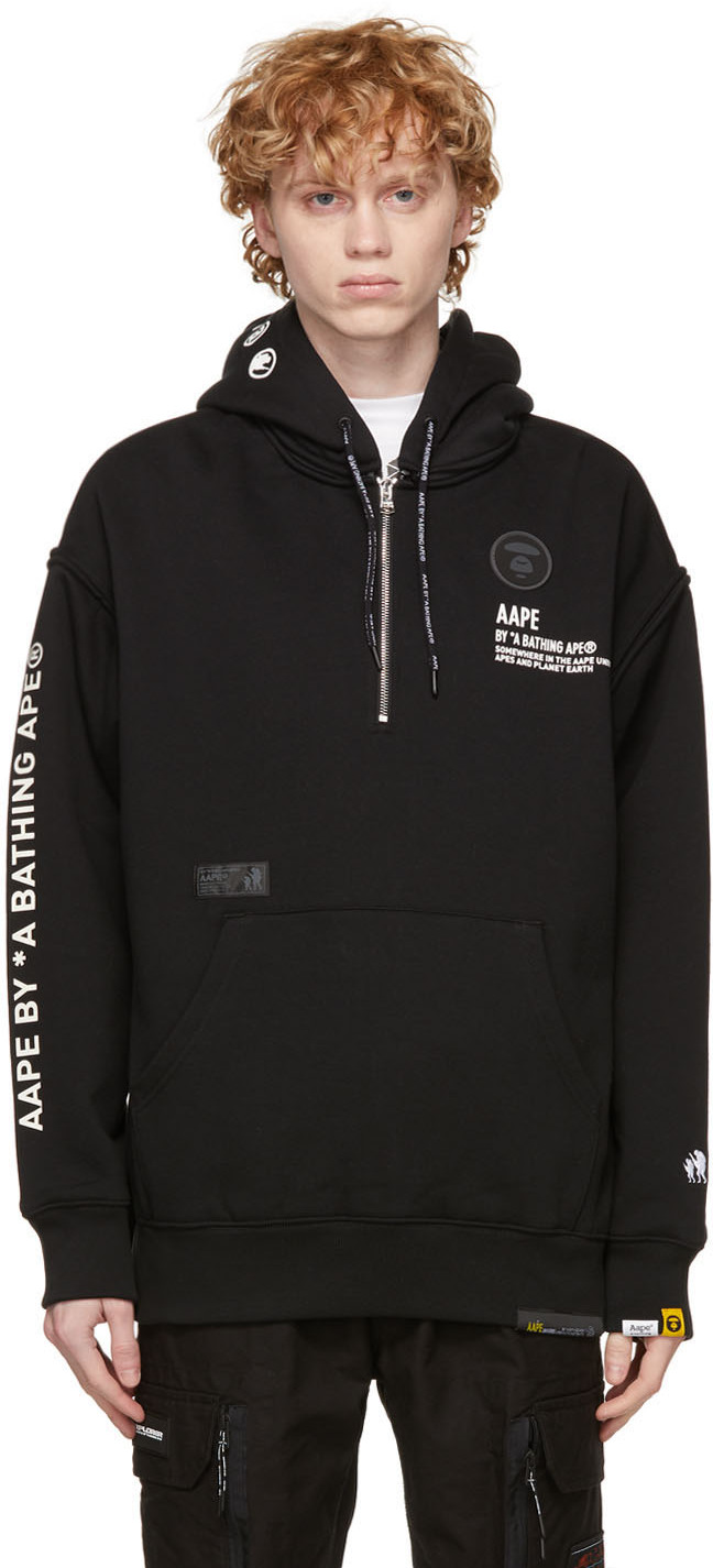 AAPE by A Bathing Ape Black Half Zip Hoodie 211547M202001