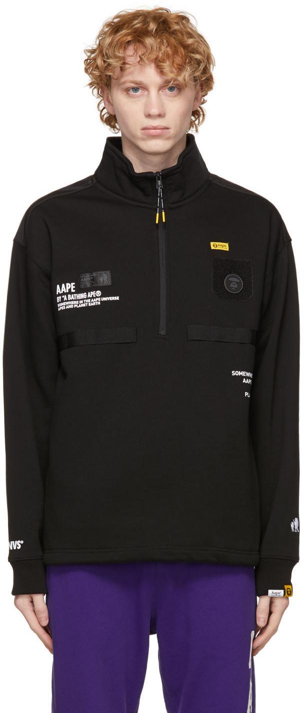 AAPE by A Bathing Ape Black Multi Pockets Sweater 211547M202003