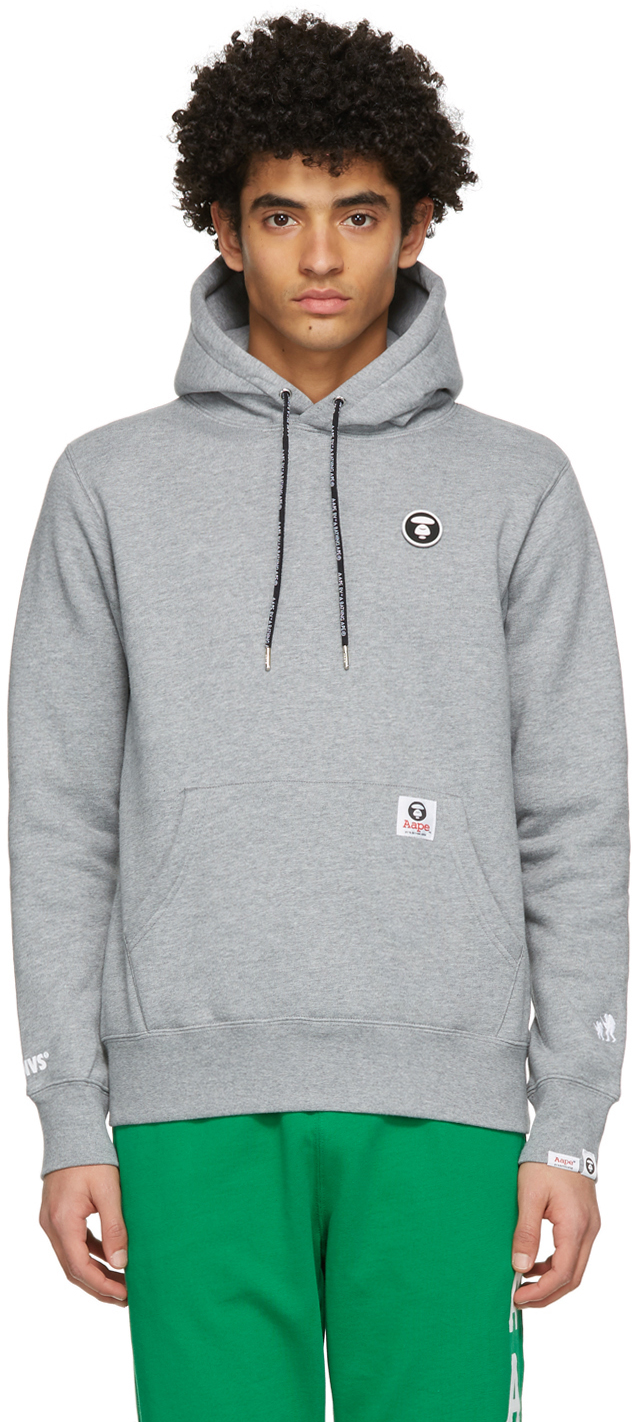 AAPE by A Bathing Ape Grey Logo Patch Hoodie 211547M202019