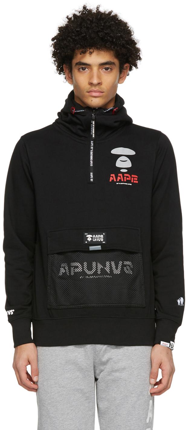 AAPE by A Bathing Ape Black Logo Half Zip Hoodie 211547M202020