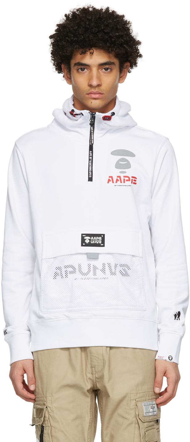 AAPE by A Bathing Ape White Logo Half Zip Hoodie 211547M202021