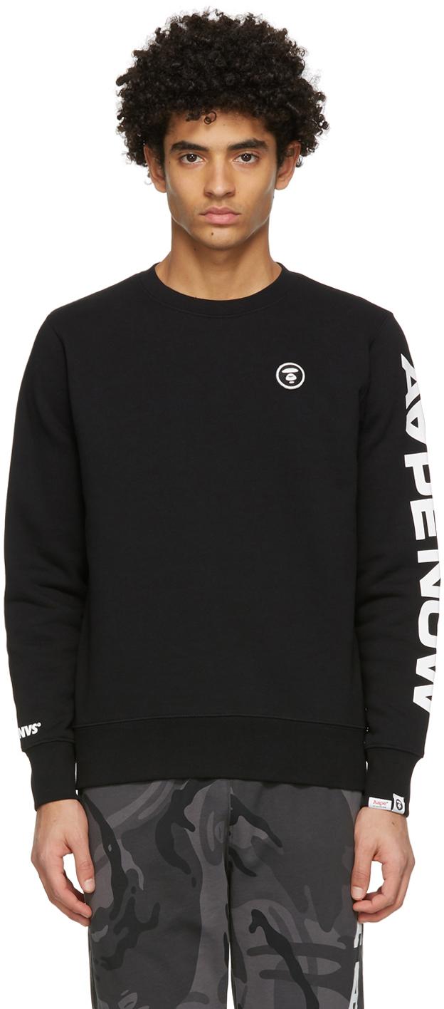 AAPE by A Bathing Ape Black Detachable Logo Sweatshirt 211547M204000