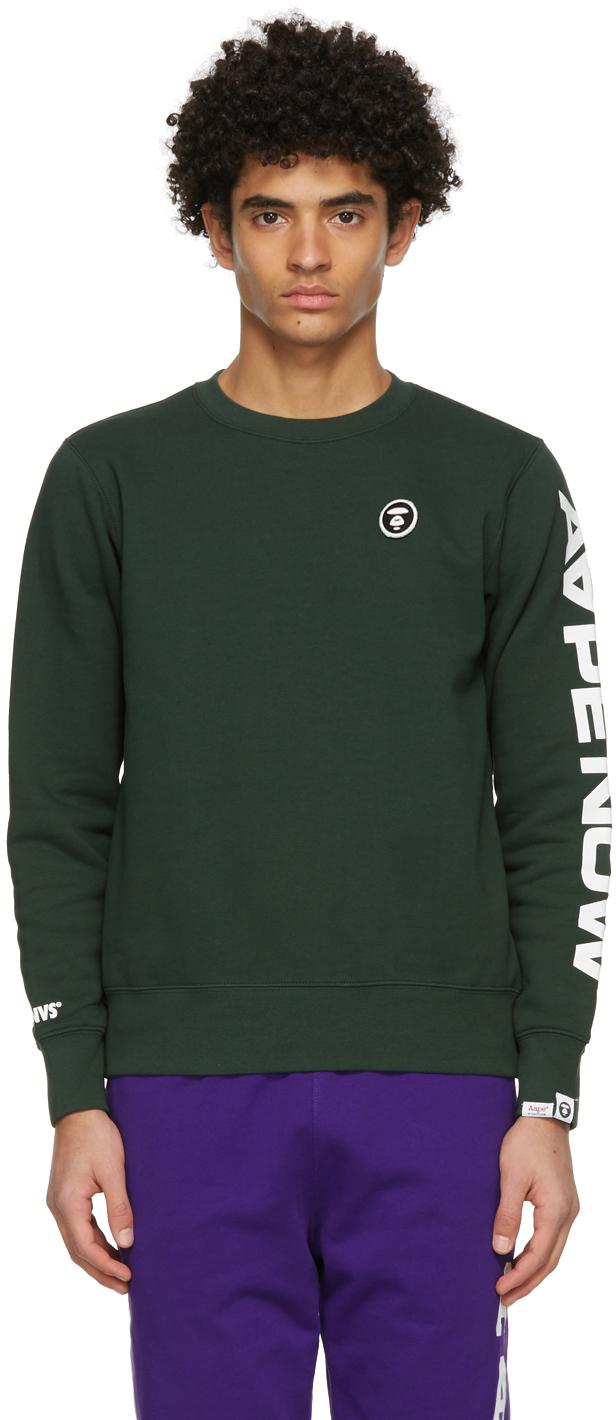 AAPE by A Bathing Ape Green Detachable Logo Sweatshirt 211547M204001