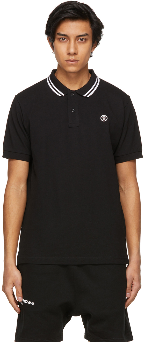 AAPE by A Bathing Ape Black Piqué One Point Polo 211547M212036
