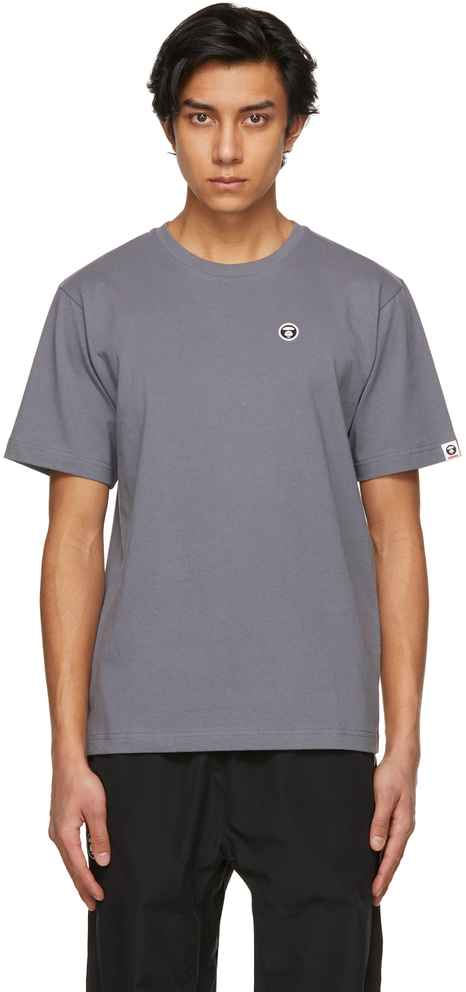 AAPE by A Bathing Ape Grey One Point T Shirt 211547M213032