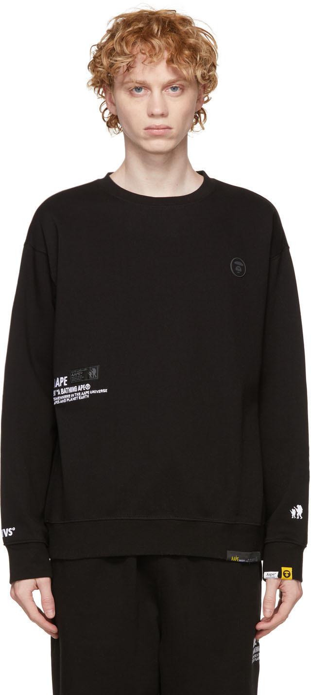 AAPE by A Bathing Ape Black Sweatshirt Lounge Pants Set 211547M218001