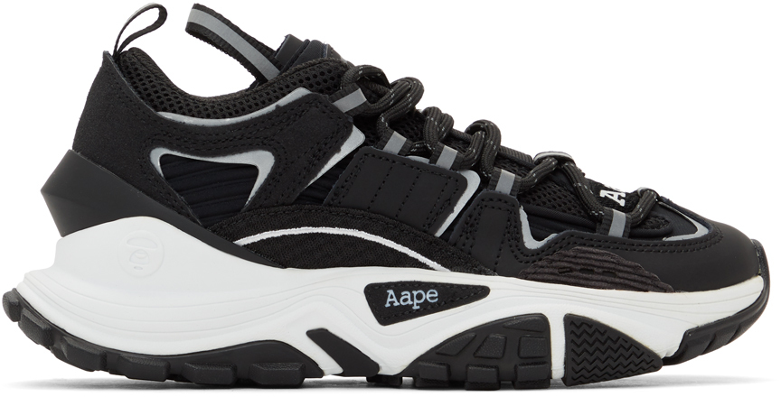 AAPE by A Bathing Ape Black White Dimension Sneakers 211547M237065