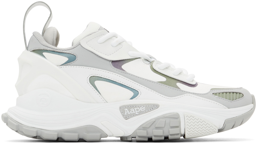 AAPE by A Bathing Ape White Grey Iridescent Dimension Sneakers 211547M237070
