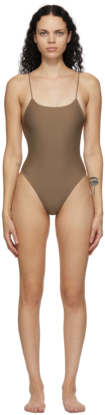 Brown Trophy One-Piece Swimsuit