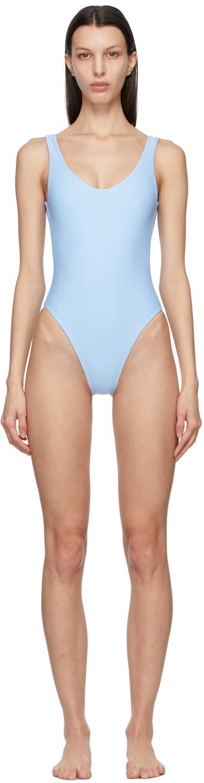 Blue Contour One-Piece Swimsuit