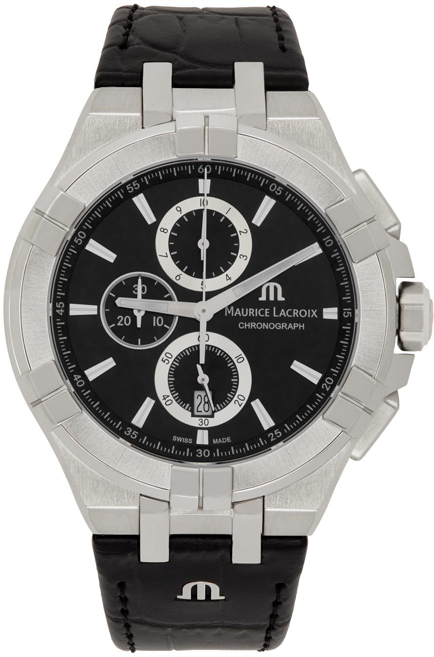 Silver & Black AIKON Chronograph 44mm Watch