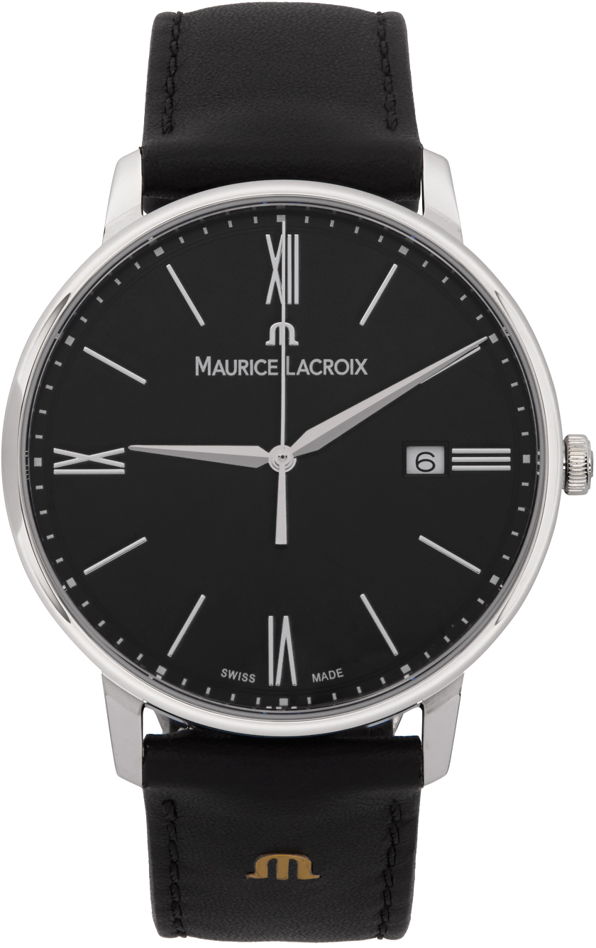 Silver & Black Eliros Date Watch