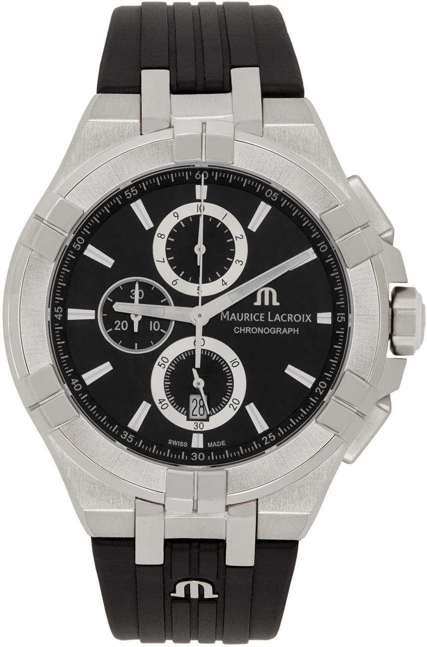 Black & Silver Aikon Chronograph Watch