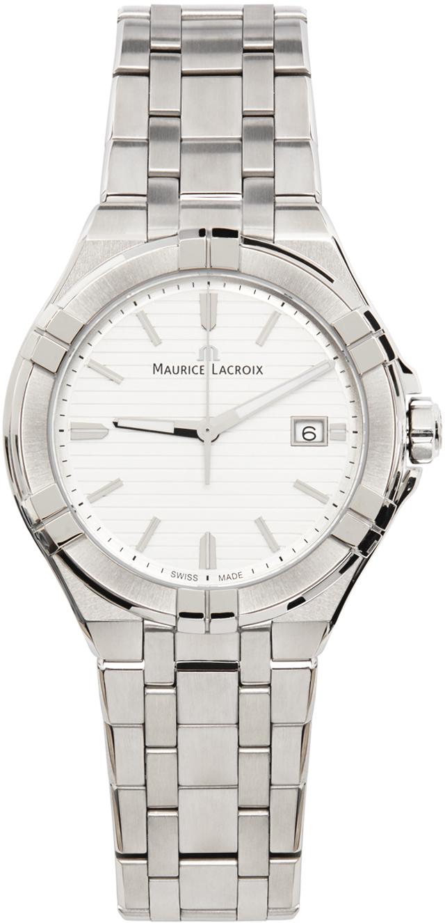 Silver & White Aikon Automatic Watch
