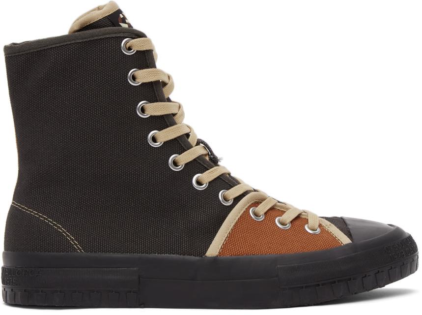 Brown & Orange Twins Hi Sneakers