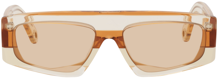 Orange 'Les Lunettes Yauco' Flat Top Sunglasses