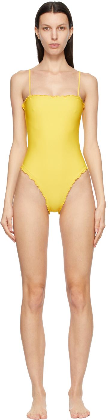 Sherris Yellow Ruffle Tank One-Piece Swimsuit