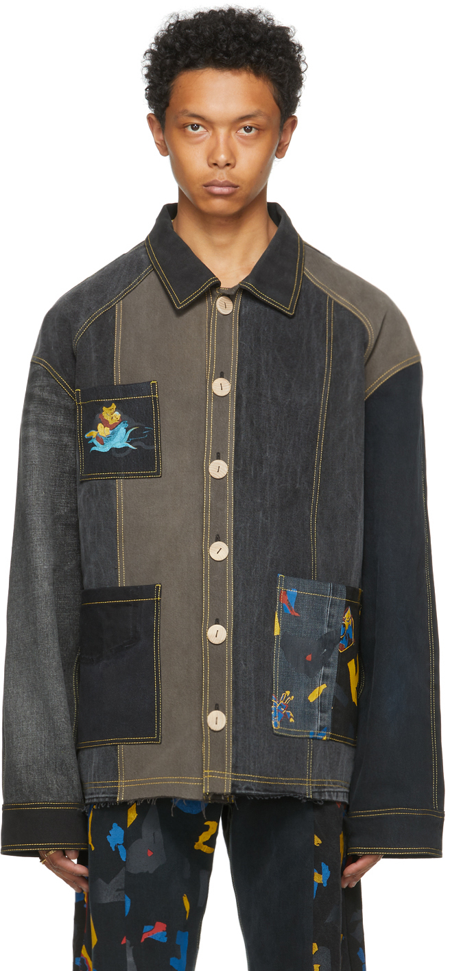 Black The Magpie Project Edition Denim Printed Jacket