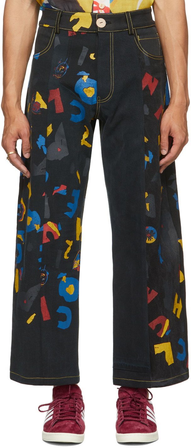 Black The Magpie Project Edition Deadstock Denim AOC Print Jeans