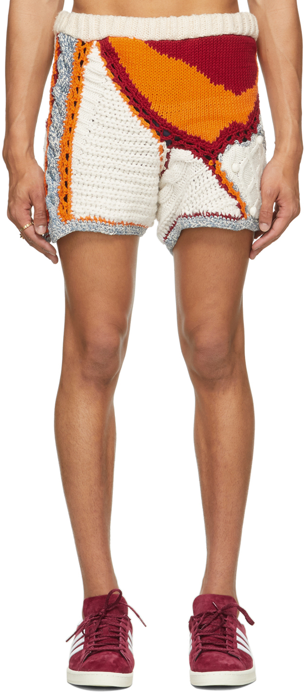 Off-White & Multicolor Wool Knitted Face Shorts