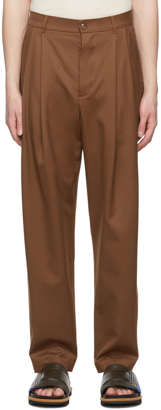 King & Tuckfield 棕色褶裥锥形羊毛长裤