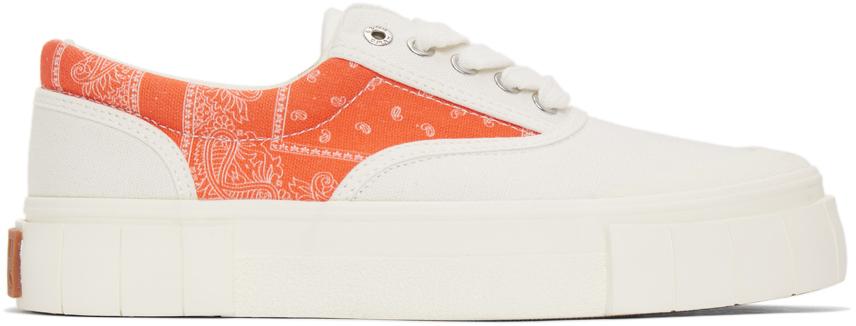 White & Orange Opal Paisley Sneakers