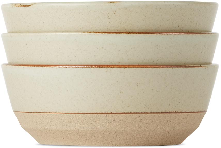 KINTO Beige Ceramic Lab CLK-151 Bowl Set, 5 in