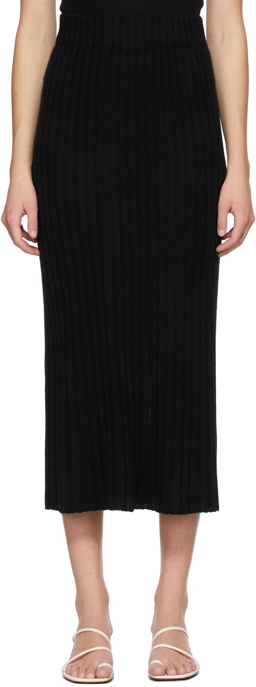 Lisa Yang 黑色 The Celine 羊绒半身裙