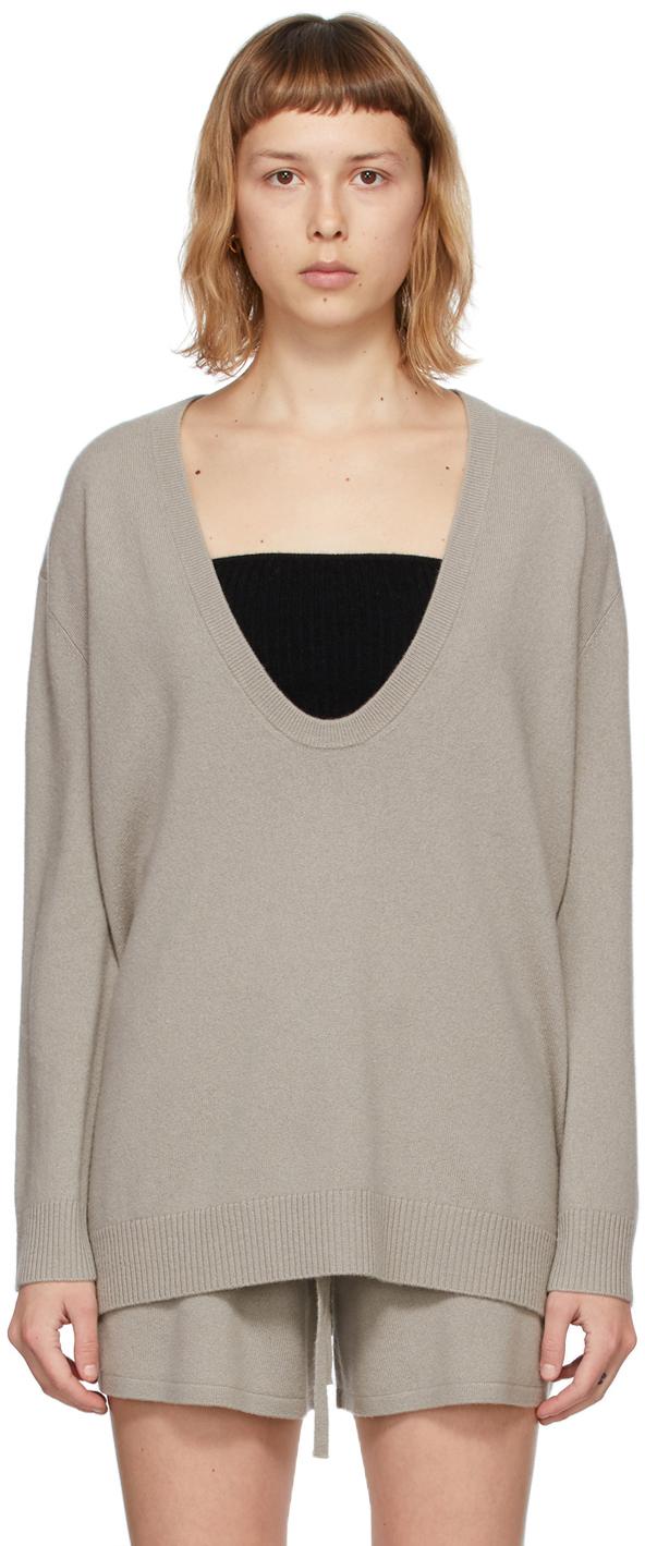 Taupe Cashmere 'The Lori' V-Neck Sweater