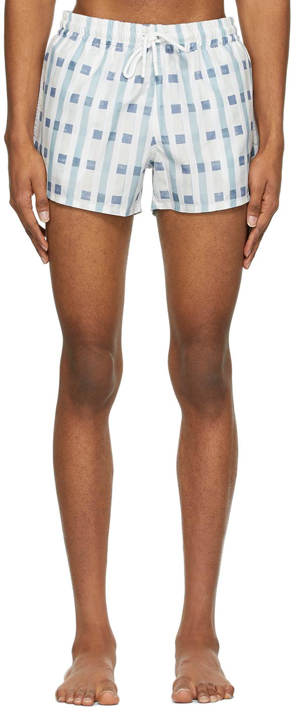 Blue & White Art Deco Check Short Length Swim Shorts