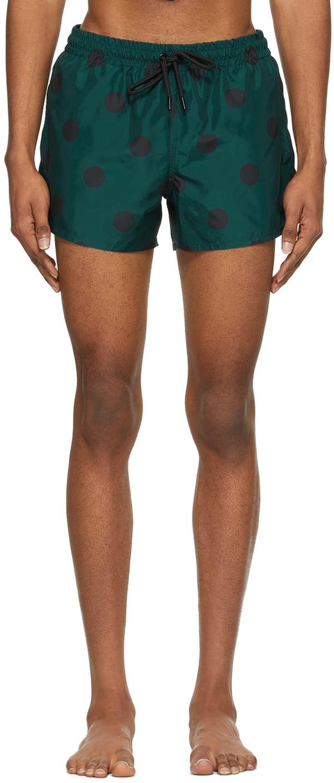 Blue & Black Spot Short Length Swim Shorts