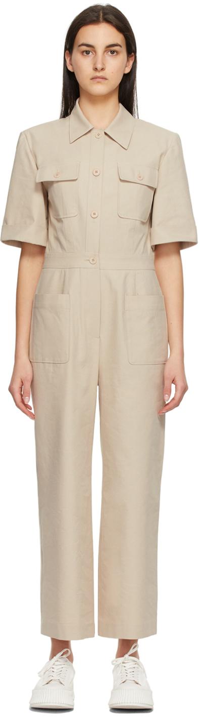 Beige Short Sleeve Jumpsuit
