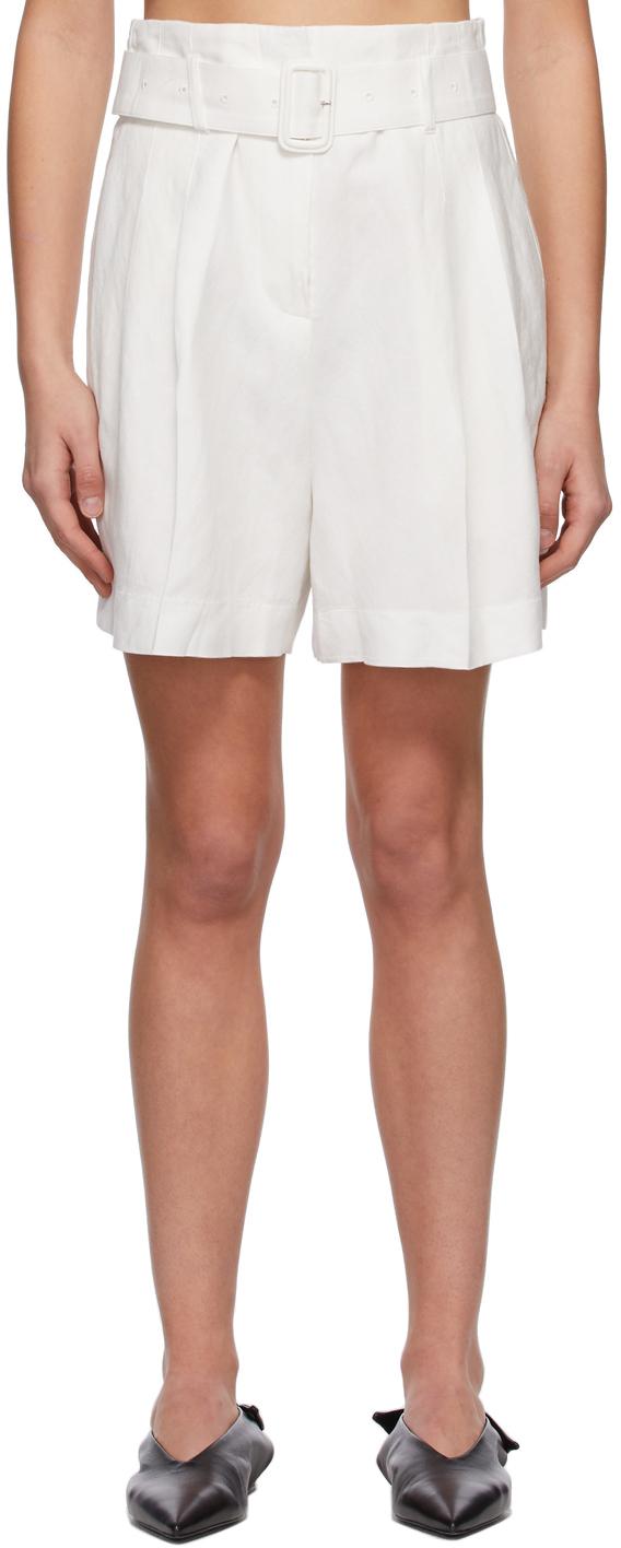 White Echo Belt Shorts